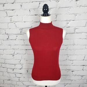 St. John Red Sleeveless Knit Sweater
